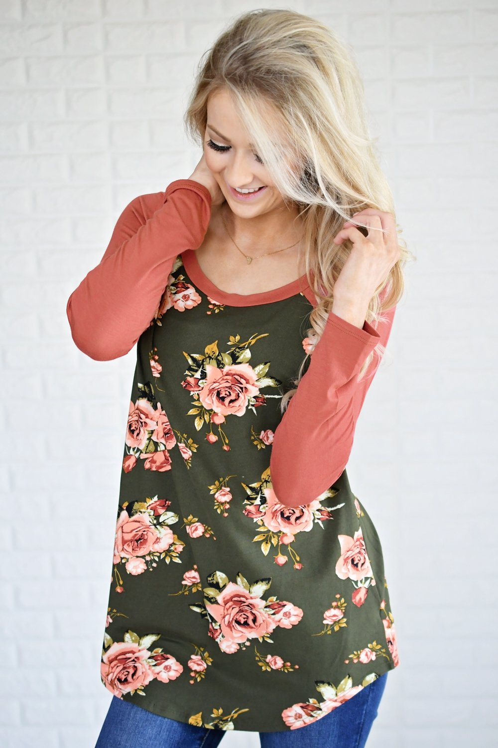 Happy in Floral Baseball Tee ~ Salmon & Olive