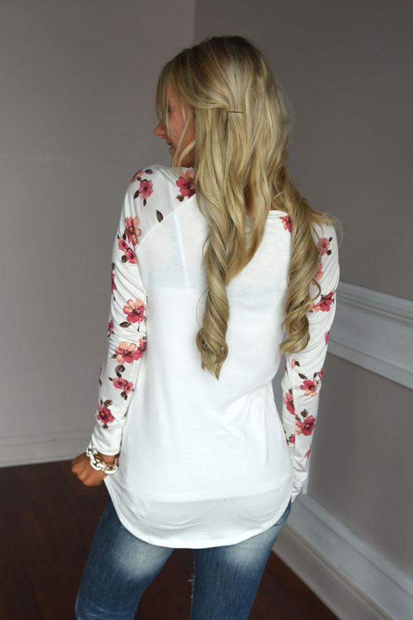Making Magic Floral Sleeve Top ~ White