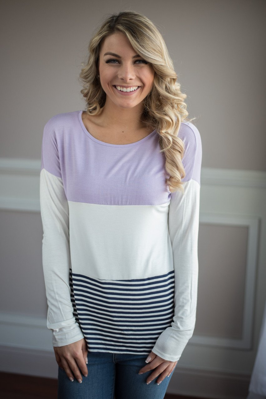 Purple and Navy Color Block Top