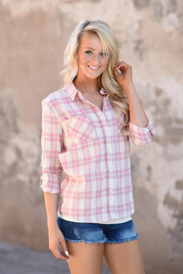 Pink Plaid Button Up Top