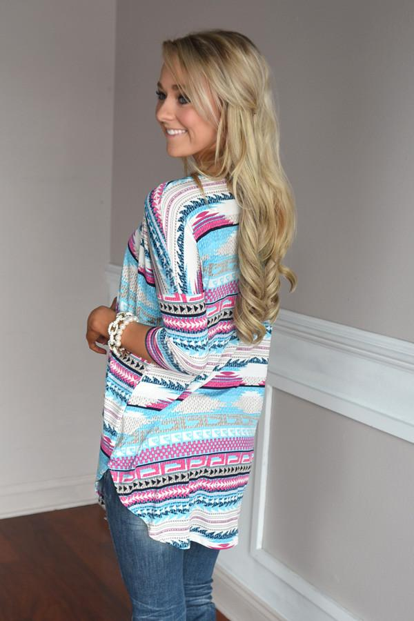 Humor Me Tunic Top ~ Blue