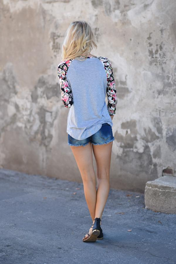 Forget Me Not Floral Top 3/4 Sleeve