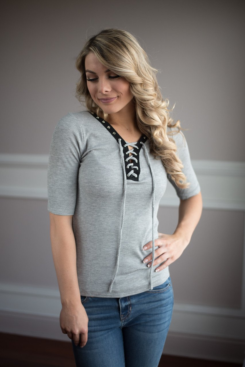 All Laced Up Top ~ Grey
