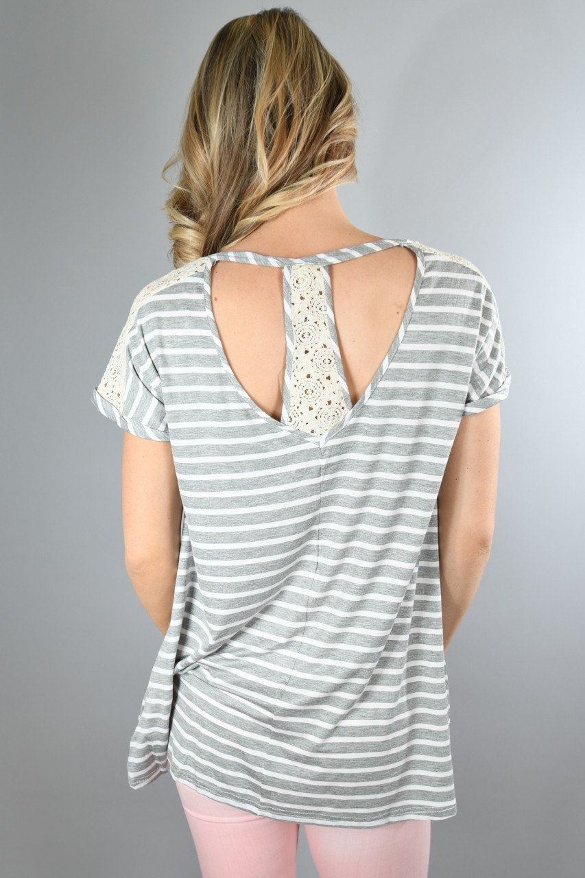 Heather Grey Lace Shoulder Top