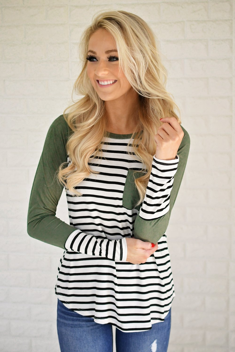 Shape of You Olive & Stripes Top