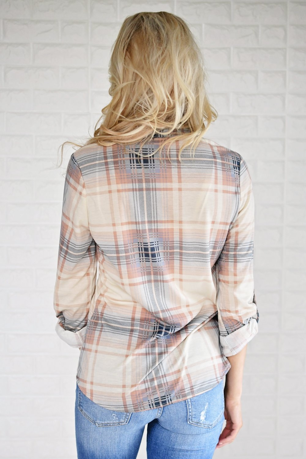 The Essential Plaid Top ~ Beige & Peach