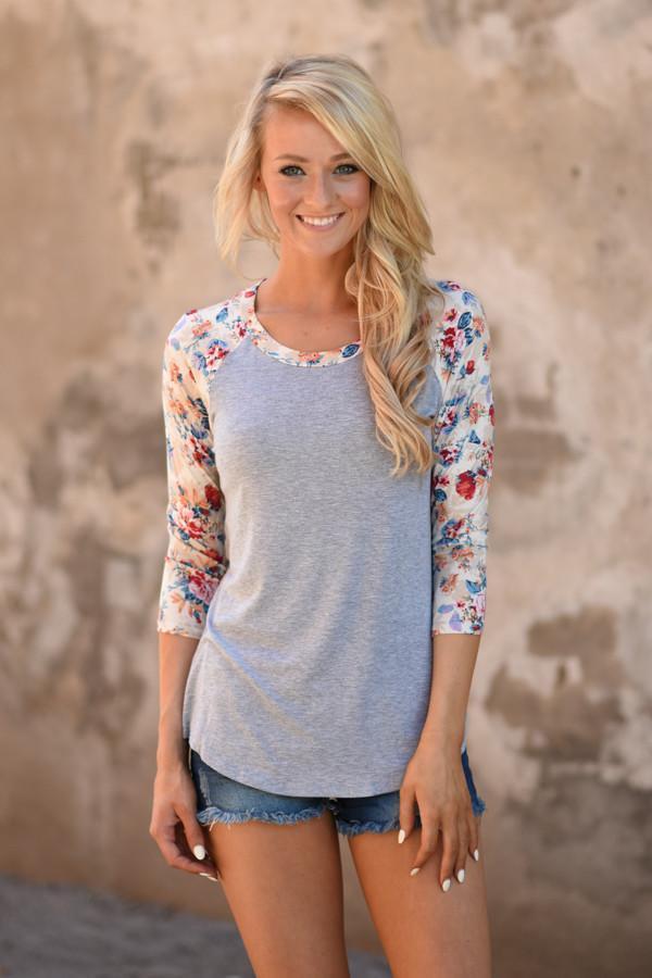 Forget Me Not Floral Top 3/4 Sleeve ~ Taupe