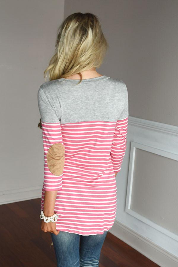 Pink Striped Elbow Patch Top