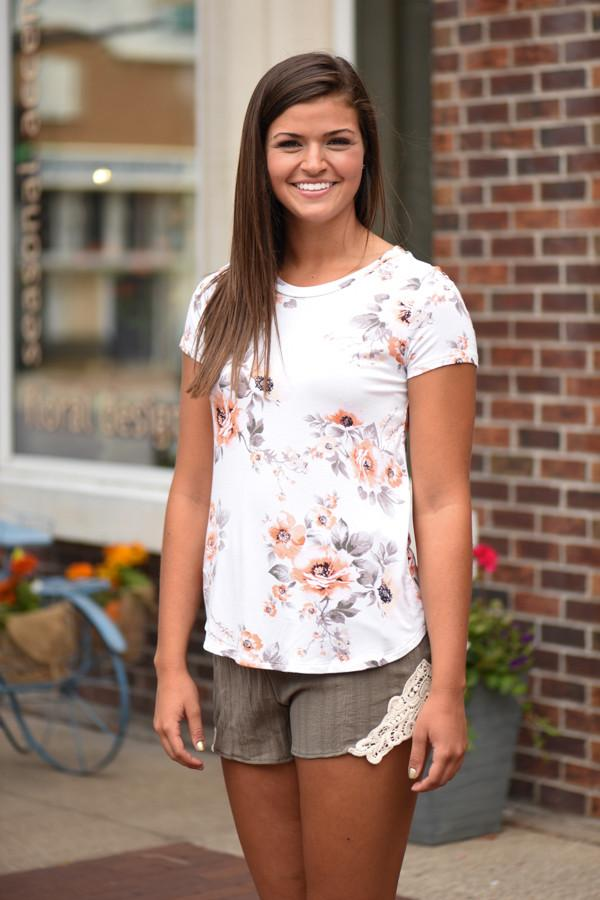 Mix It Up Floral Top Ivory