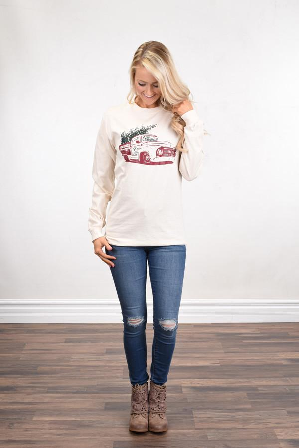 Vintage Christmas Long Sleeve Top - Cream