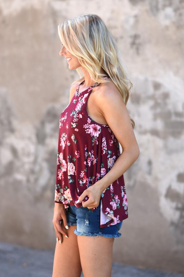 Flower Power Tank ~ Burgundy