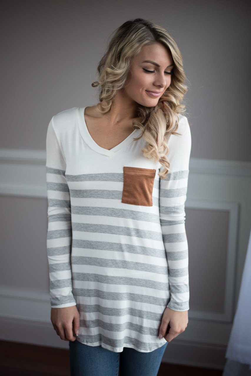 White and Grey Pocket Top