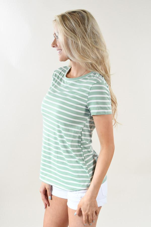 Beach Life Striped Top ~ Mint
