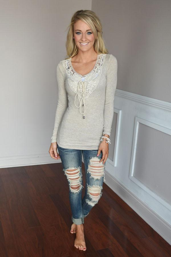 Not Your Baby Doll Top ~ Taupe