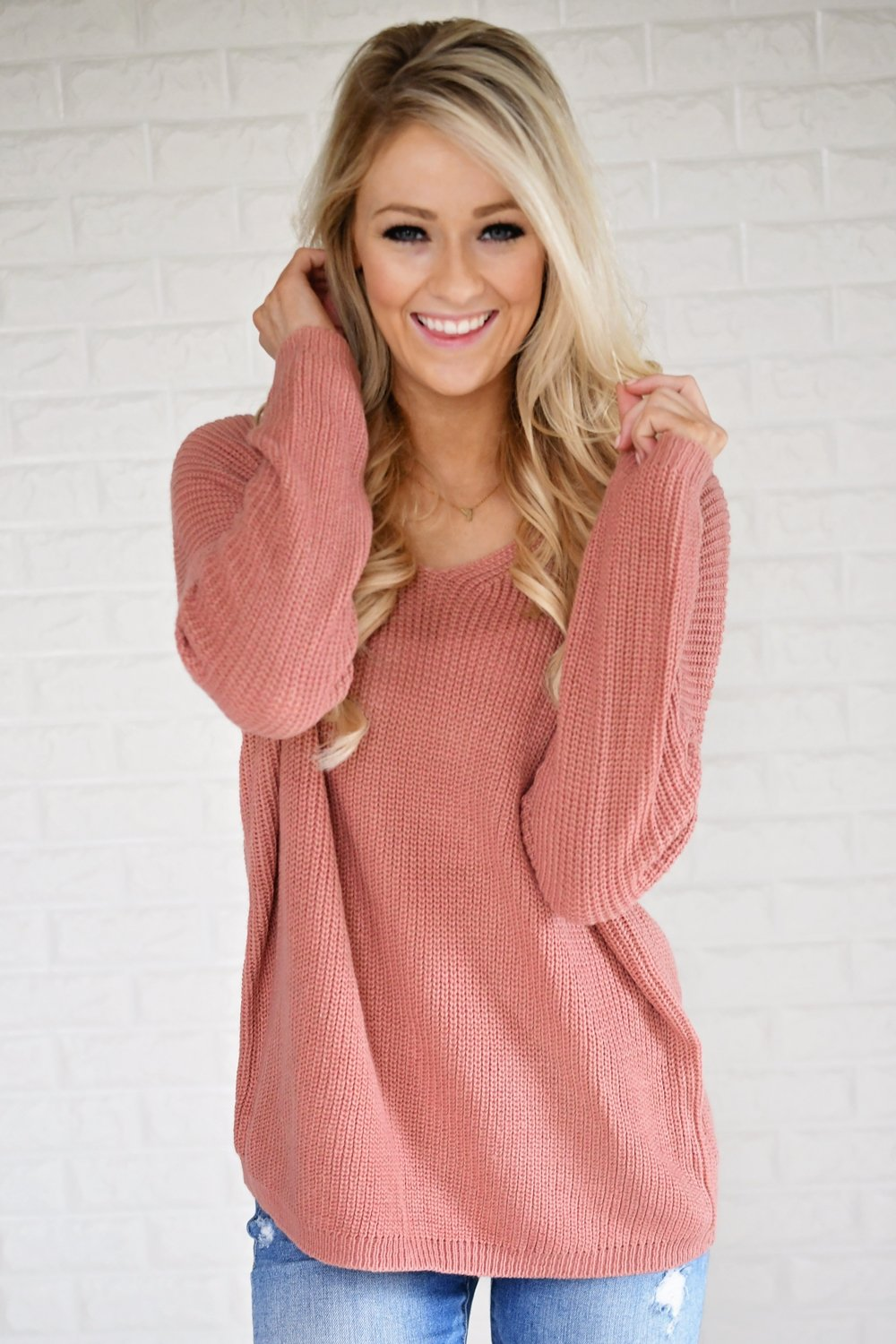 Back Lace Up Sweater ~ Salmon