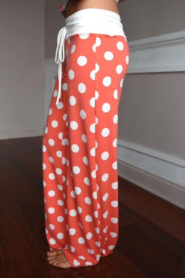 Polka Dot Lounge Pants ~ Coral