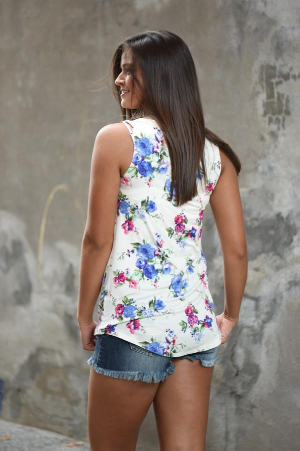 Ivory Floral Tank ~ Blueberry