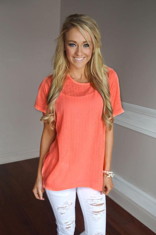 Paradise Top ~ Neon Coral
