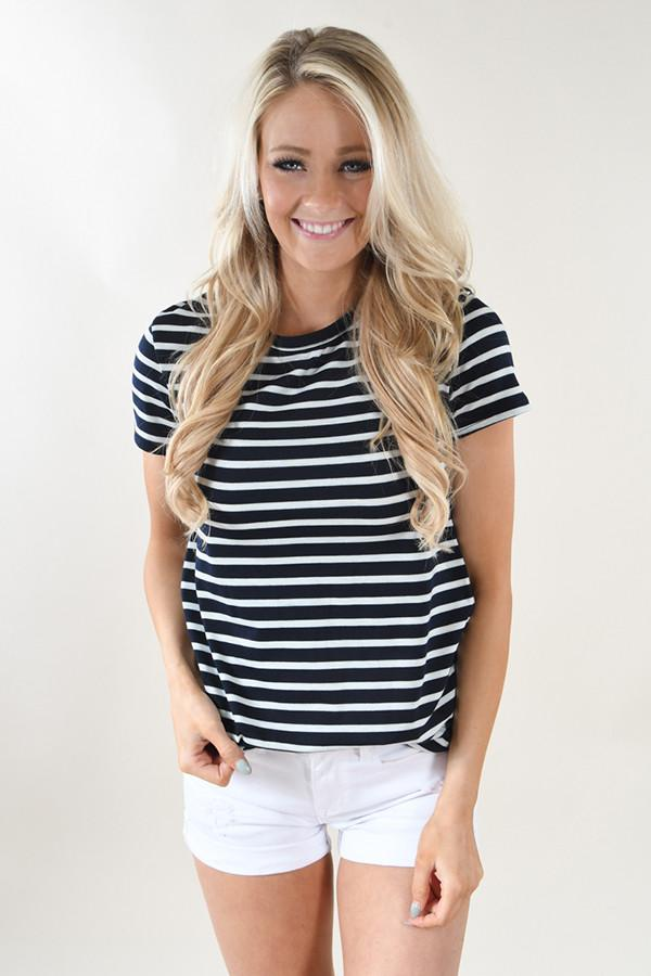 Beach Life Striped Top ~ Navy