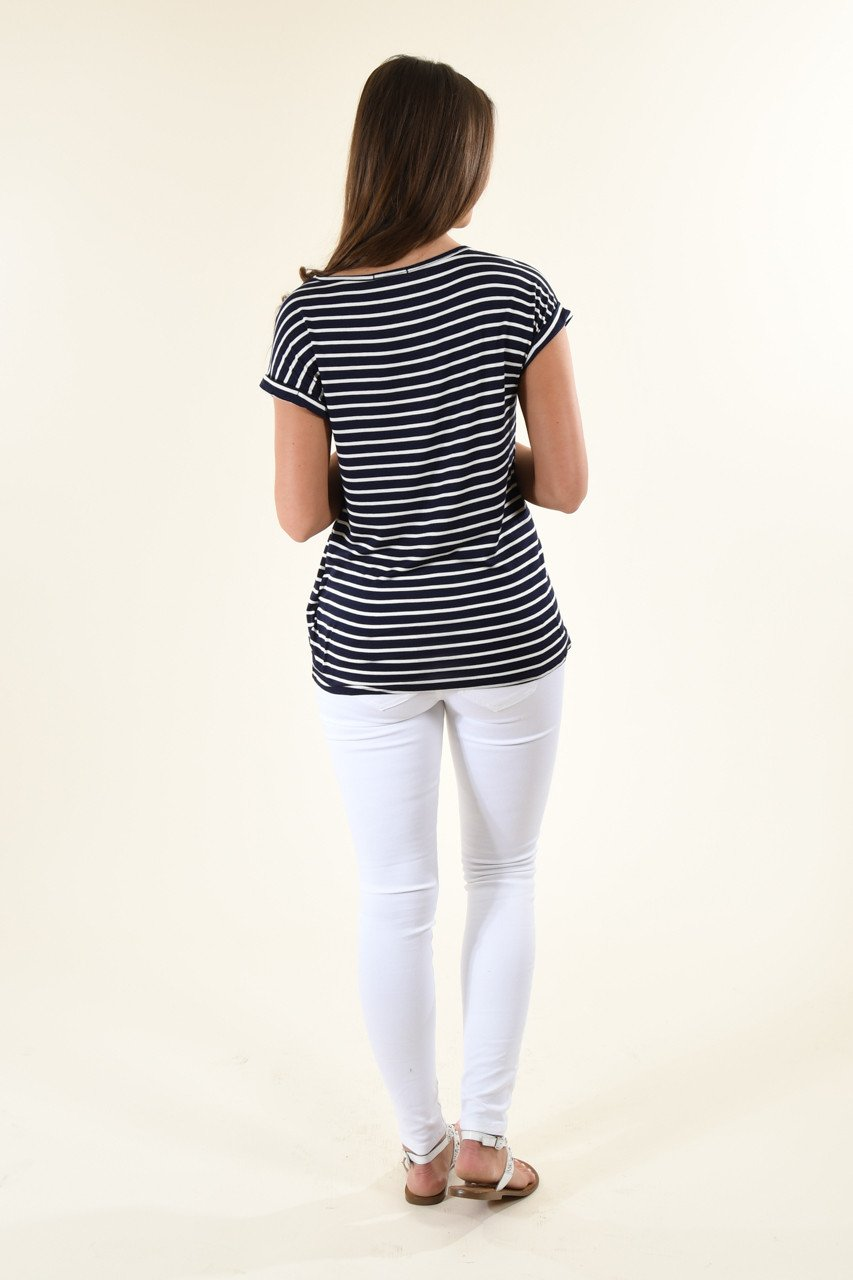 Navy Striped V-Neck Knot Top