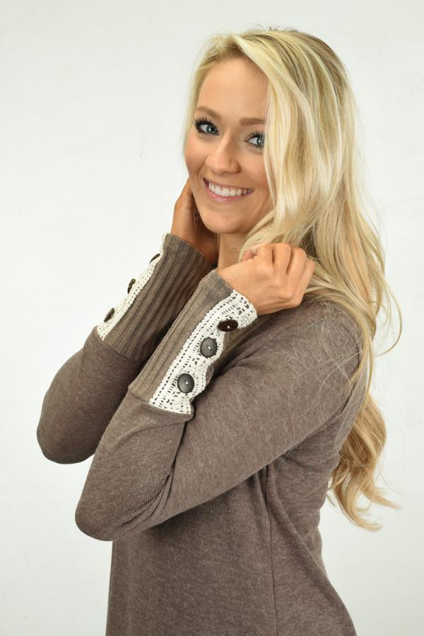 Button Sleeve Top ~ Mocha