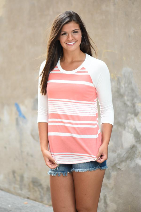 Ready for a Good Time 3/4 Sleeve Top ~ Light Coral