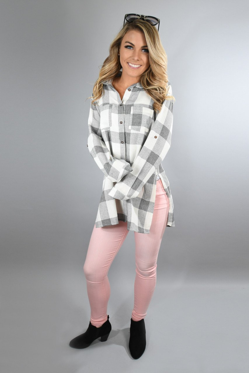 Grey and White Checkered Plaid Top
