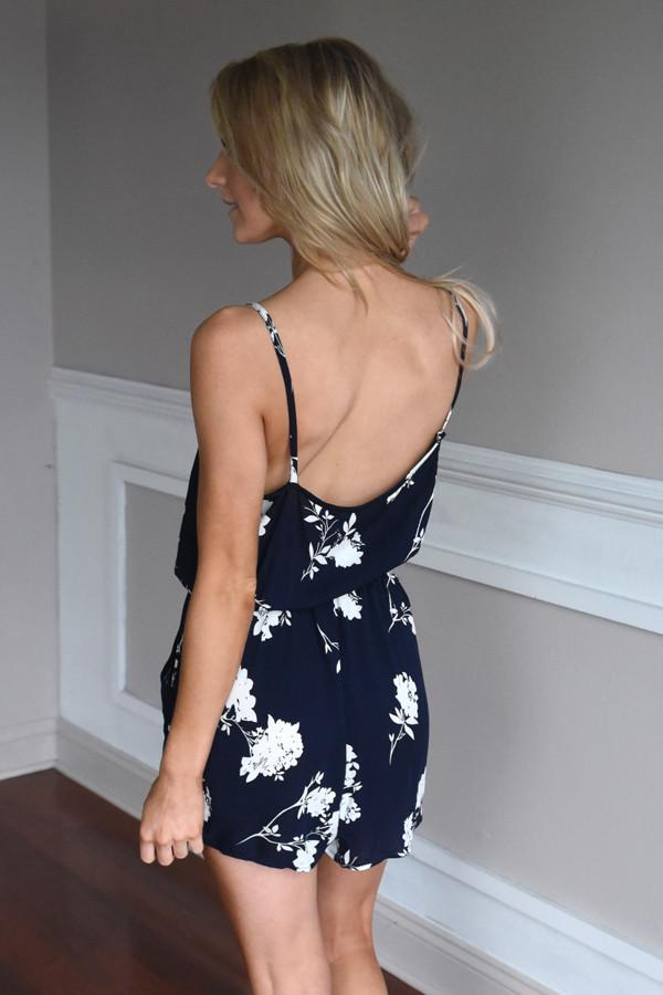 Watch The Tide Romper ~ Navy