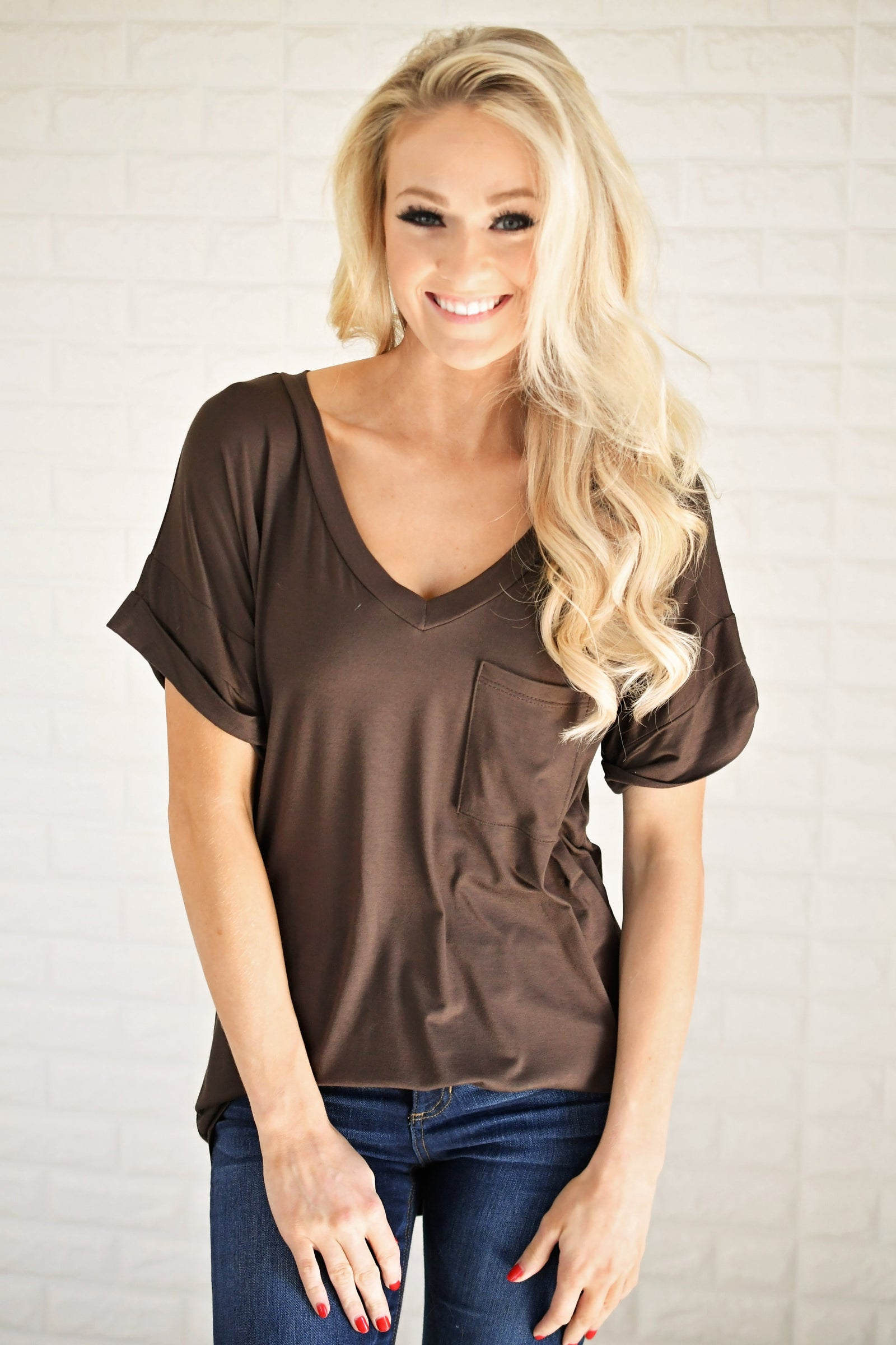 Brown V-Neck Pocket Tee