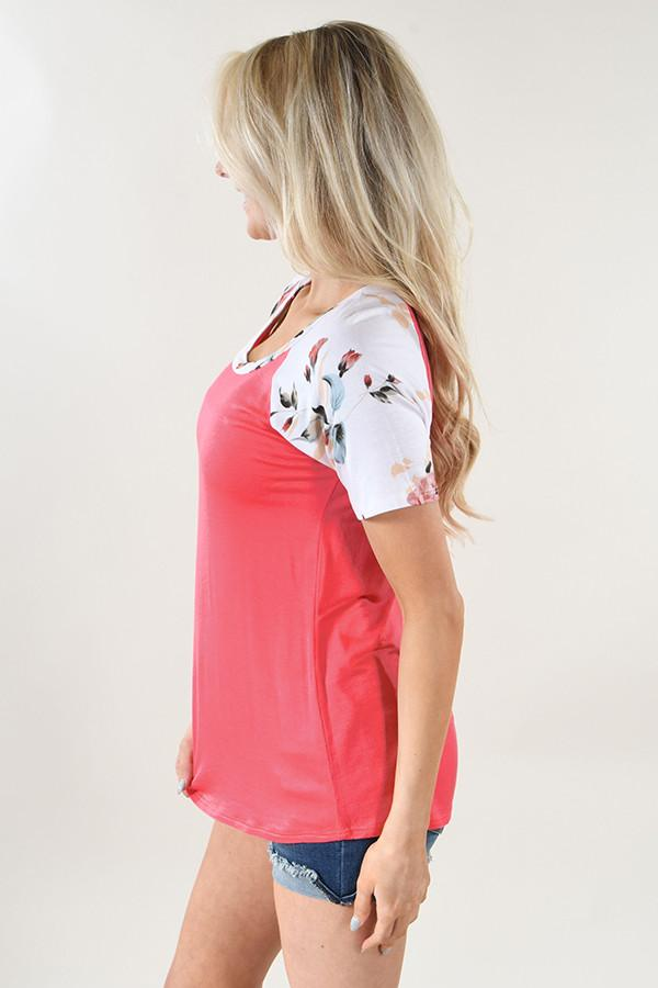 Grapefruit Floral Sleeve Top