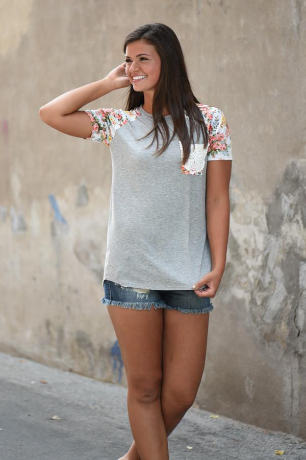 Crochet Pocket Floral Top ~ Grey