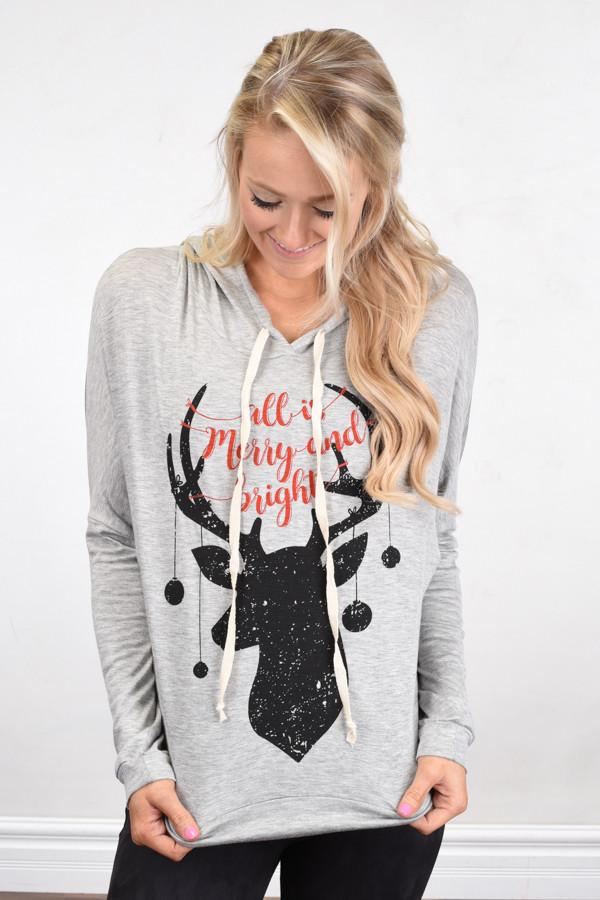 All Is Merry & Bright Hoodie ~ Light Grey