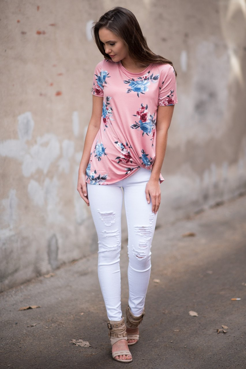 Cheers! Pink Floral Knot Top