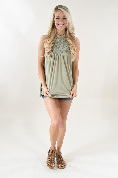 Light Green Lace Tank Top