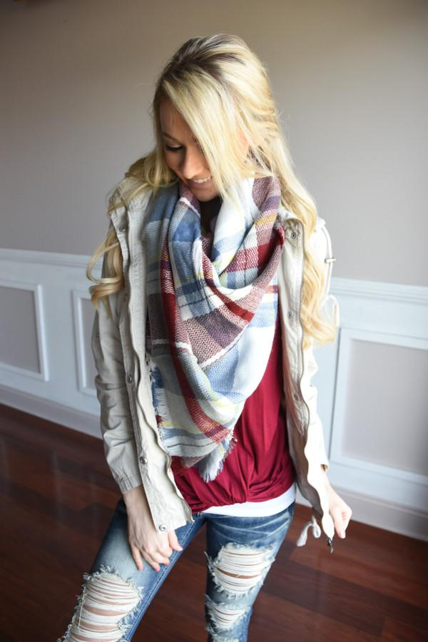 Blanket Scarf ~ Red & Blue