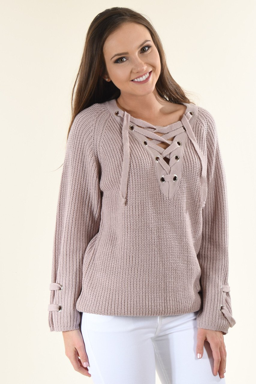 Light Lavender Lace Up Sweater