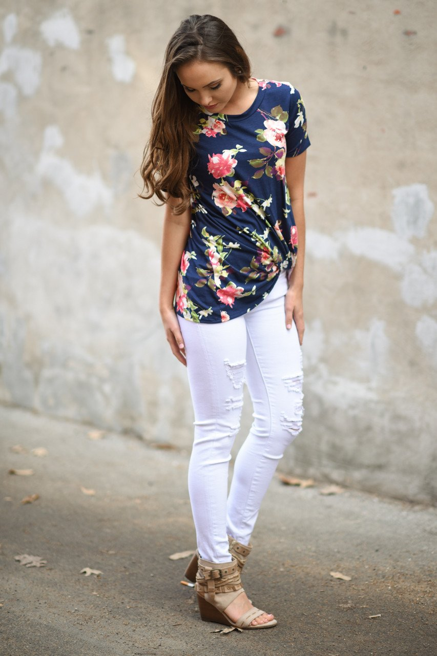 Navy Floral Short Sleeve Top