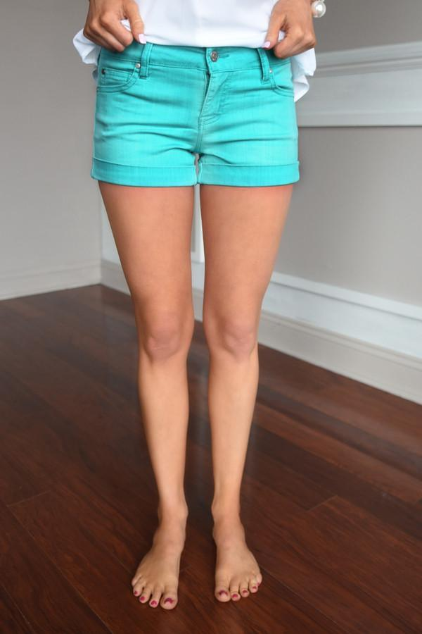 Teal Distressed Shorts