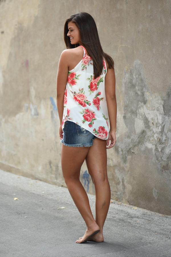 Floral Dream Tank Top ~ Ivory