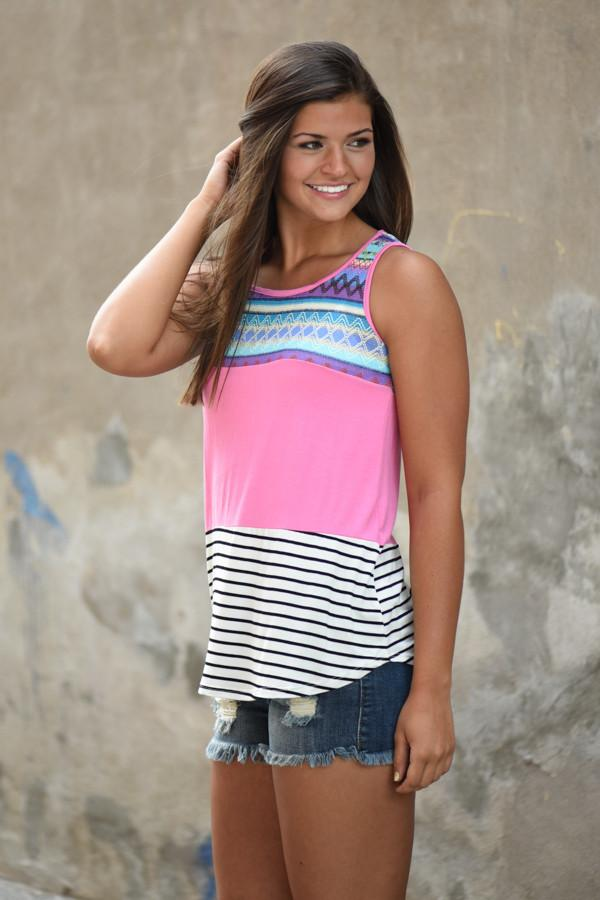 Pink Striped Embroidered Tank Top
