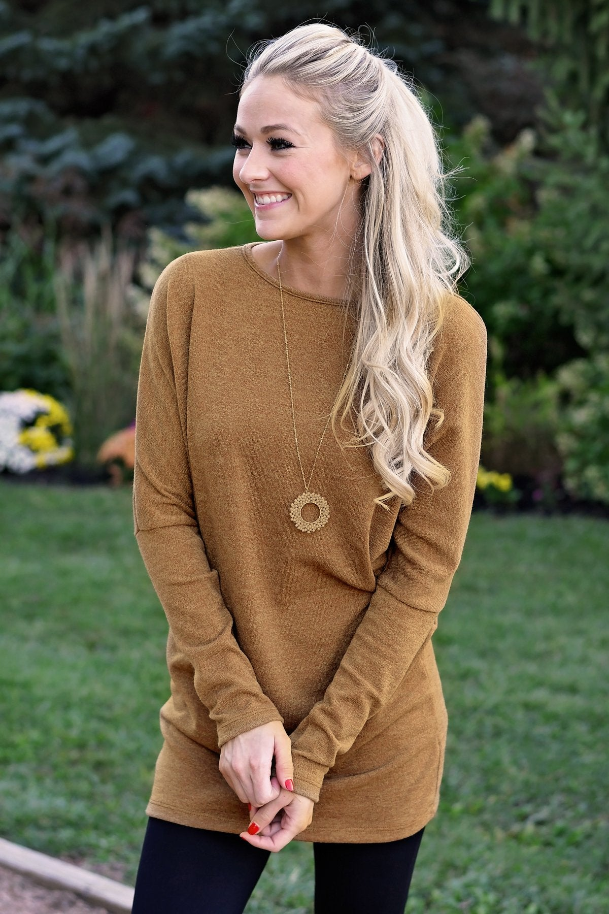 Fall Feels Harvest Gold Tunic Top