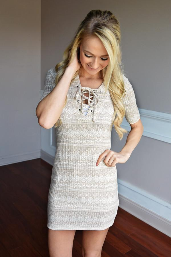 Taupe Aztec Fitted Dress