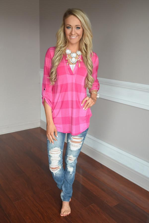Pink Checker Top