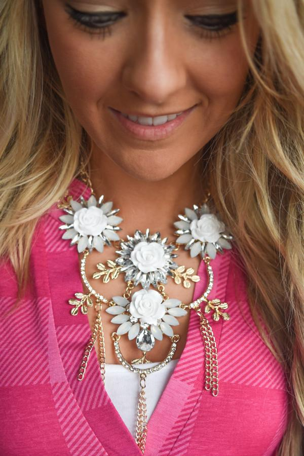 Floral Statement Necklace ~ Ivory