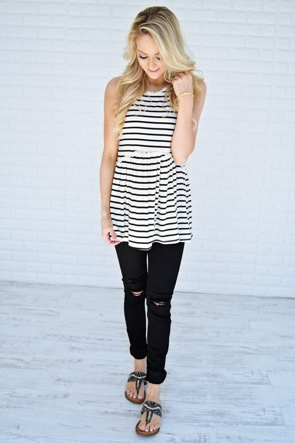 Black & White Striped Babydoll Top