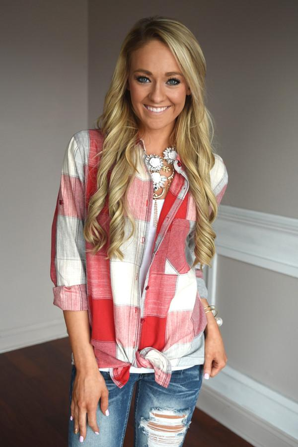 American Beauty Flannel ~ Red