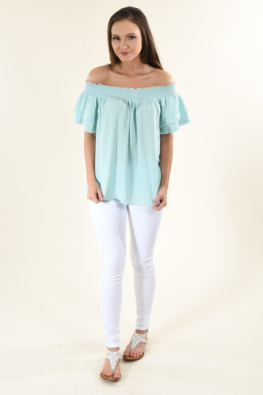 Blue Off The Shoulder Ruffle Top