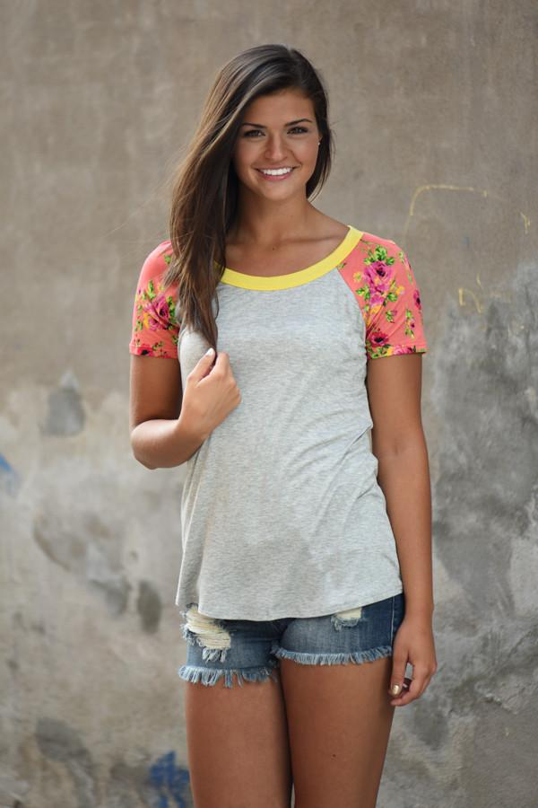 Collar Full of Color Floral Top ~ Yellow