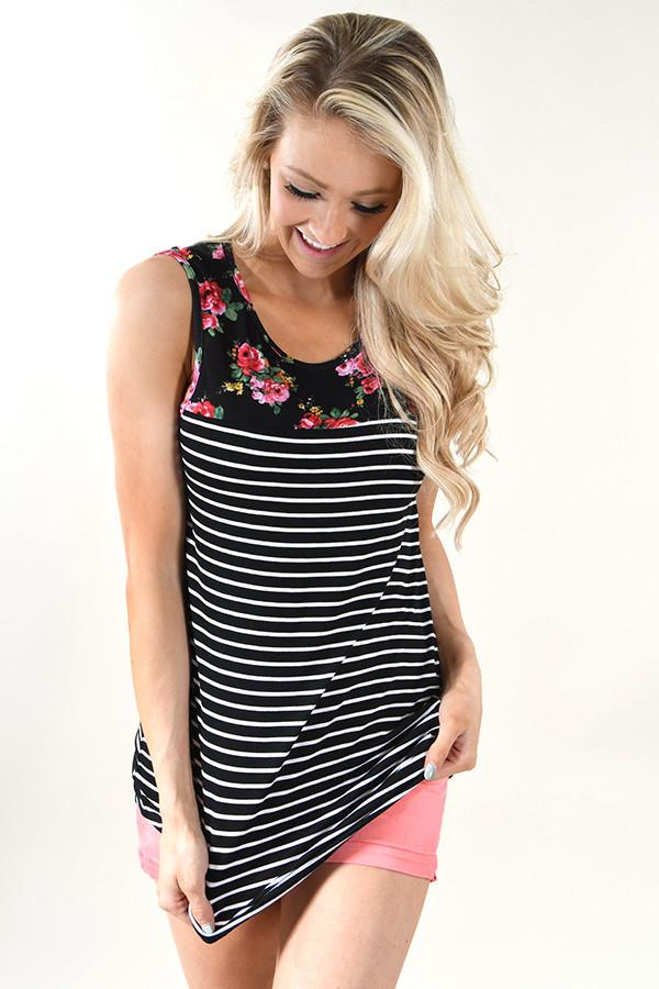 Black and Floral Tank Top - 2nds