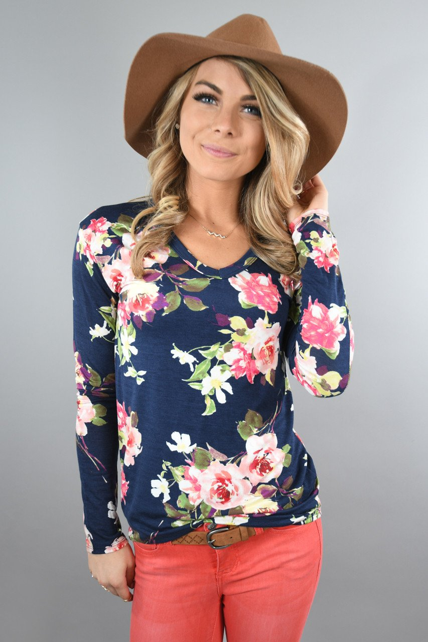 Here Comes the Fun Floral Top ~ Navy